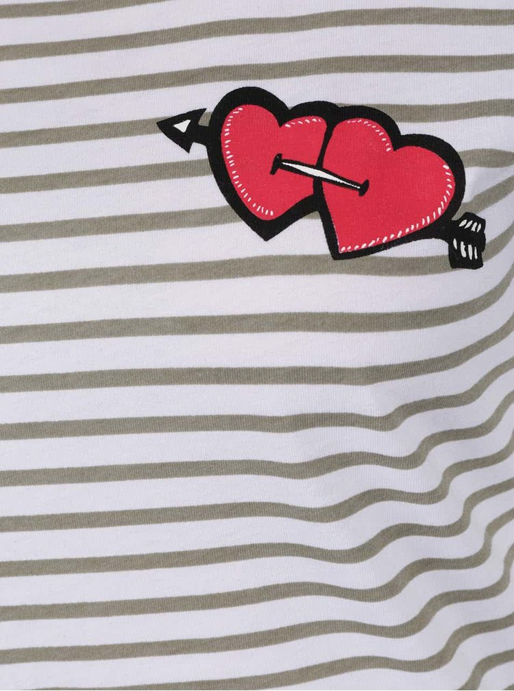Tricou crem&verde in dungi si print inimi Noisy May Hearts
