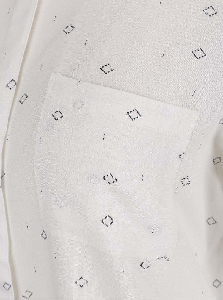 Cămașă crem cu imprimeu geometric și buzunar VERO MODA Vissa