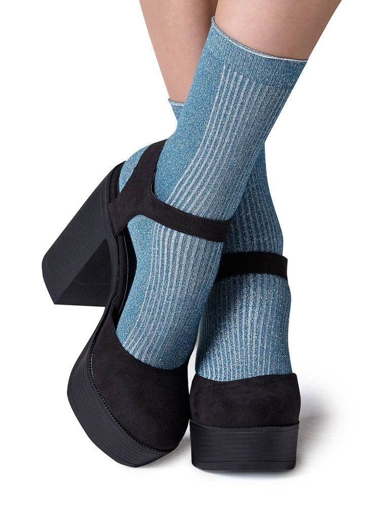 Șosete albastru deschis Gipsy cu inserție lurex