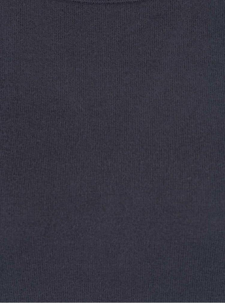 Tmavě modrý svetr s překládaným zadním dílem Noisy May City