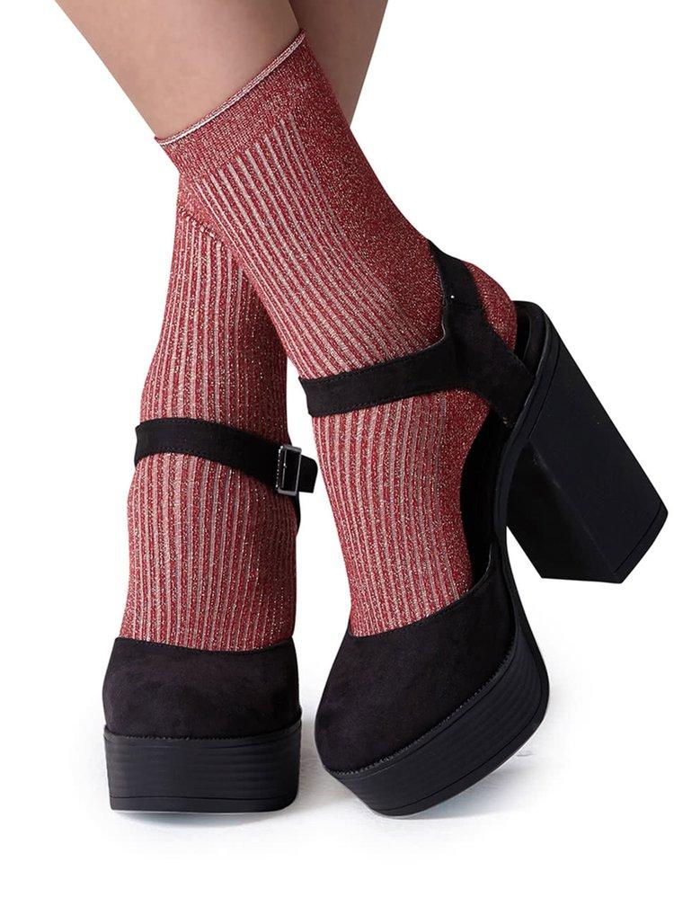 Șosete roșu burgund Gipsy cu inserție lurex auriu