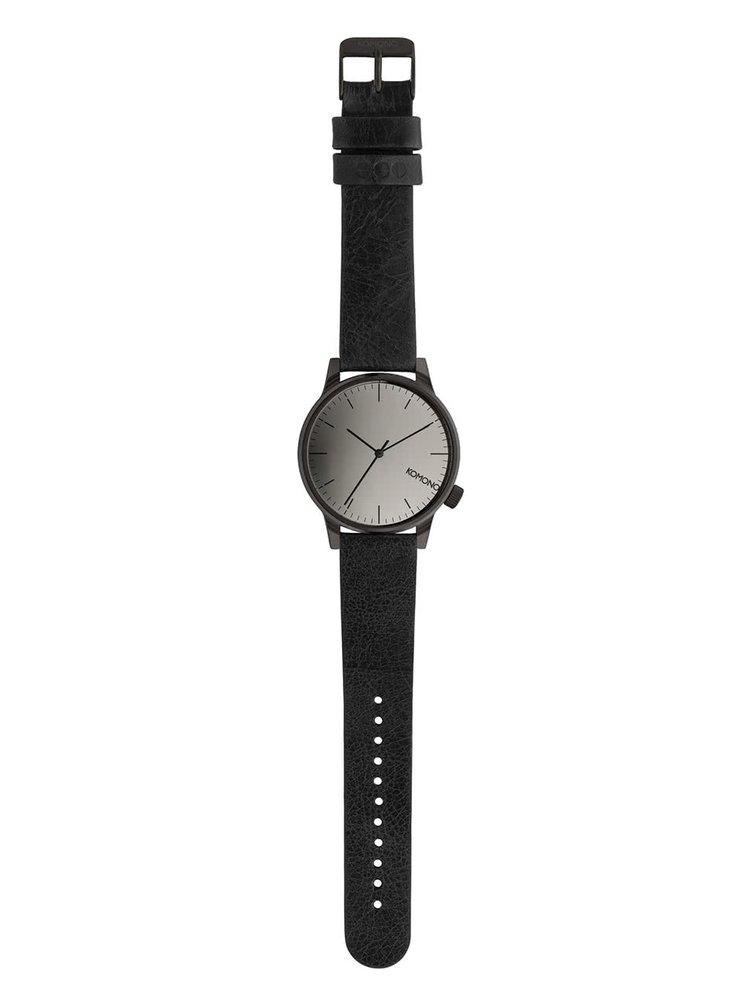 Unisex hodinky s černým koženým páskem Komono Winston Mirror