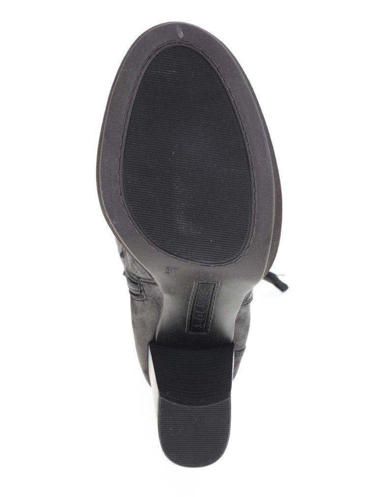 Černé vysoké dámské kozačky na podpatku s.Oliver
