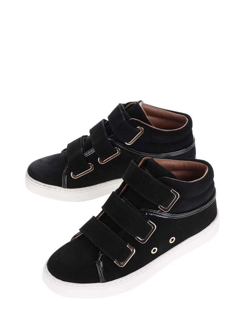 Černé kožené tenisky s pásky na suchý zip ALDO Reari