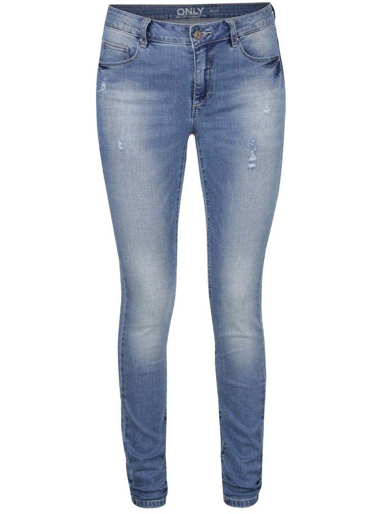 Modré skinny džíny s potrhaným efektem ONLY Carmen