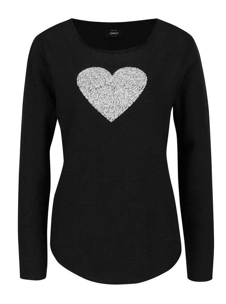 Černá mikina se srdcem ve stříbrné barvě ONLY Monty