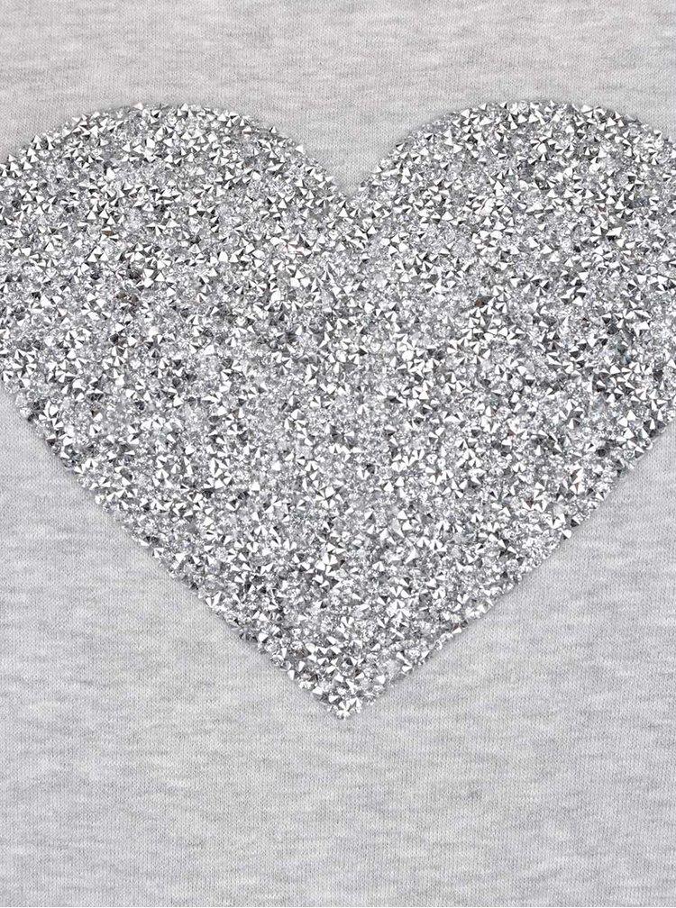Šedá mikina se srdcem ve stříbrné barvě ONLY Monty