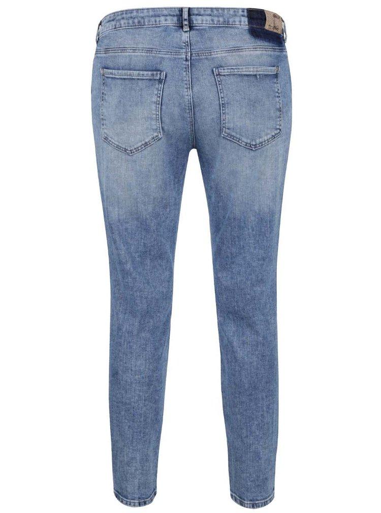 Modré džíny s potrhaným efektem a záplatou ONLY Relax