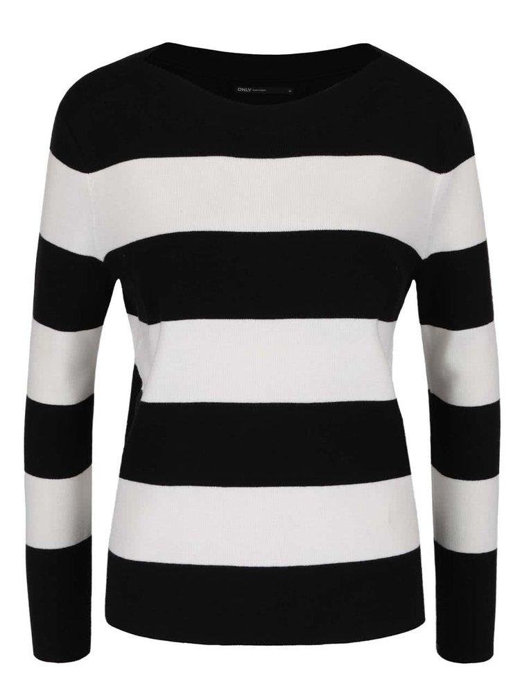 Krémovo-černý pruhovaný svetr ONLY Bologne