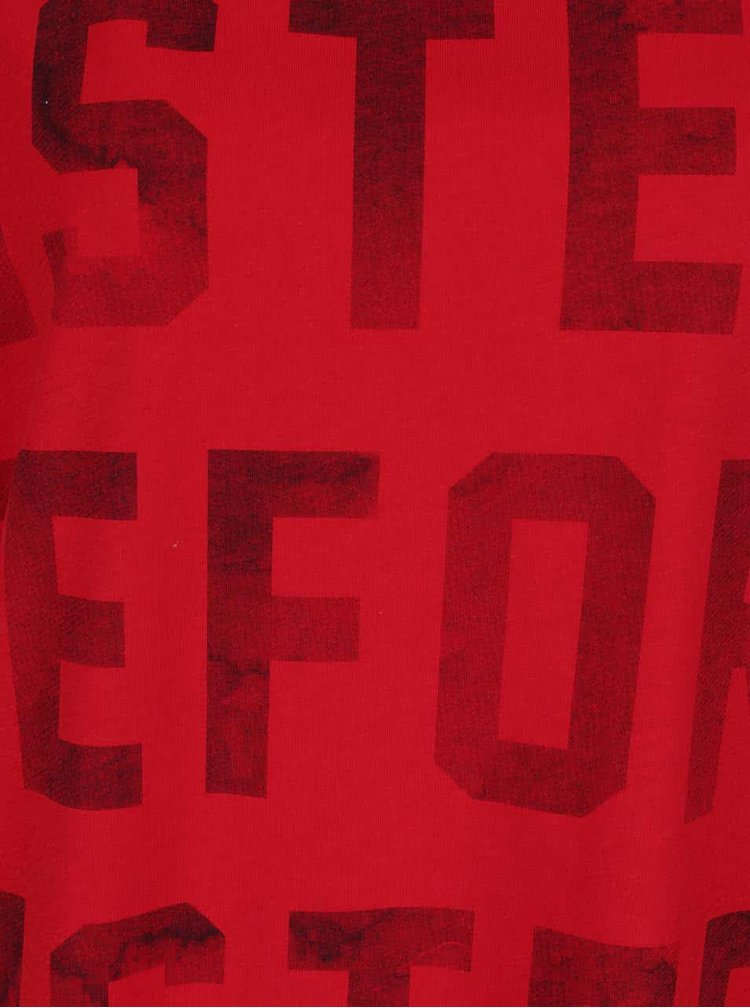 Červené oversize tričko s potiskem ONLY Bad hair don´t care