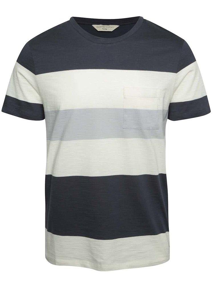 Tricou crem & albastru închis Selected Homme Rune din bumbac cu model în dungi