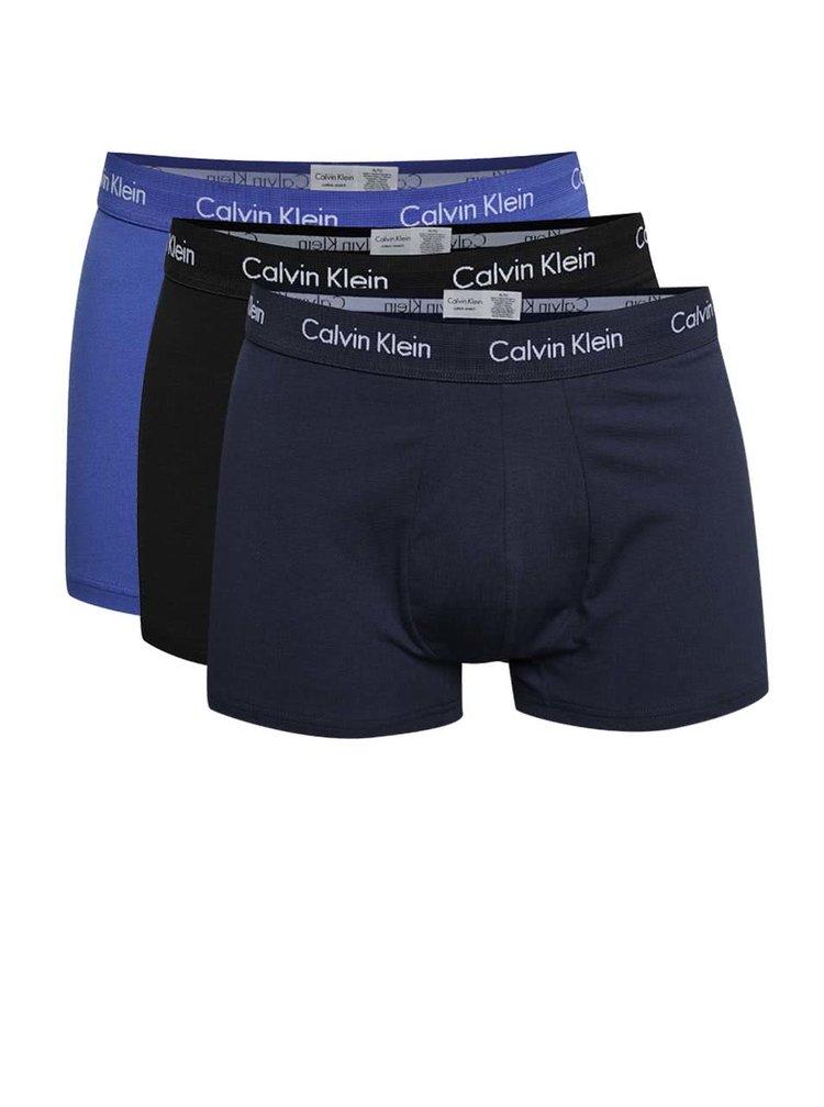 Sada tří boxerek v modré barvě Calvin Klein