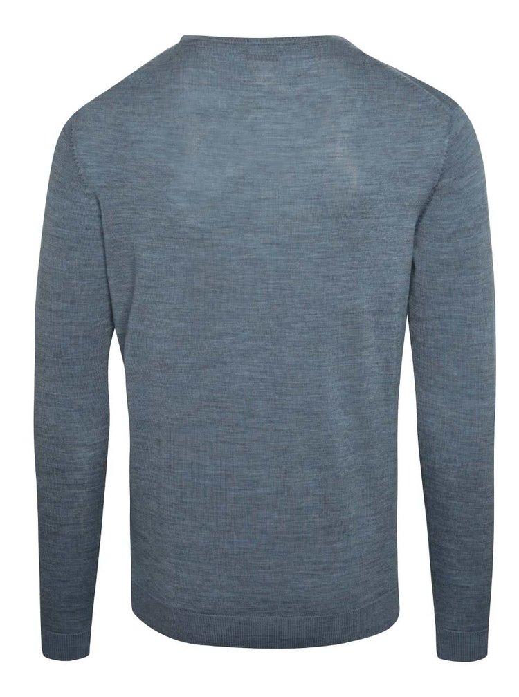 Modrý sveter z Merino vlny Selected Homme Tower