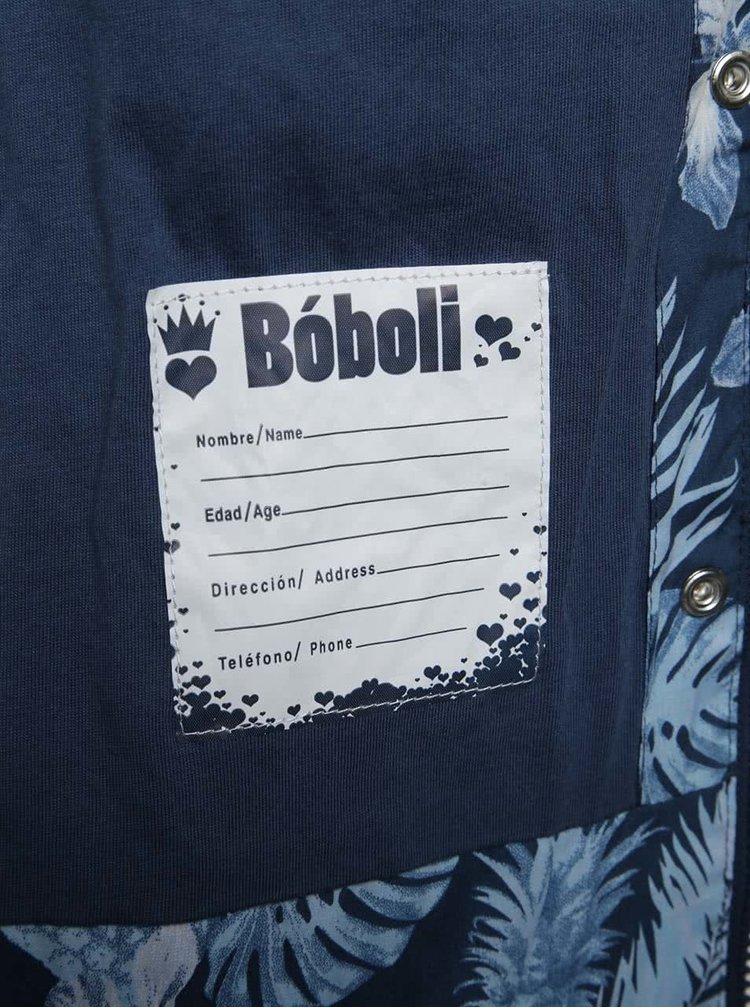 Tmavě modrá holčičí parka se vzorem Boboli