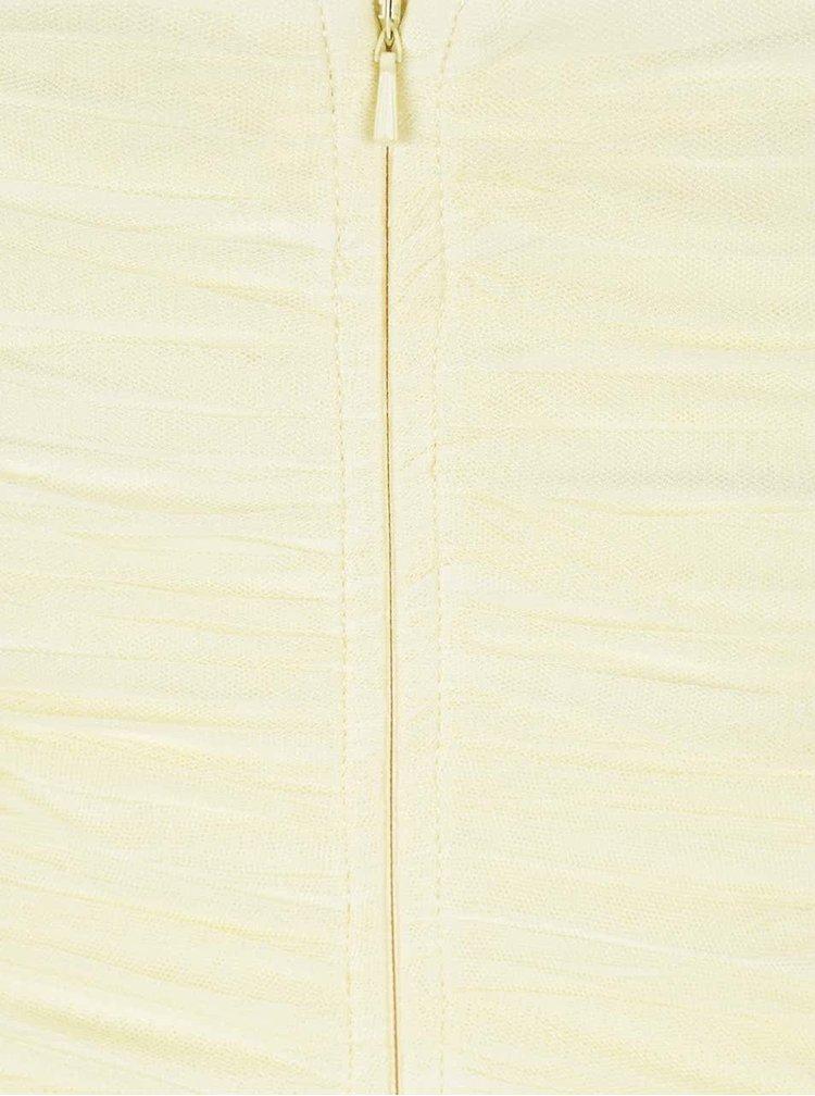 Žluté maxišaty s plisovaným topem a korálky Little Mistress