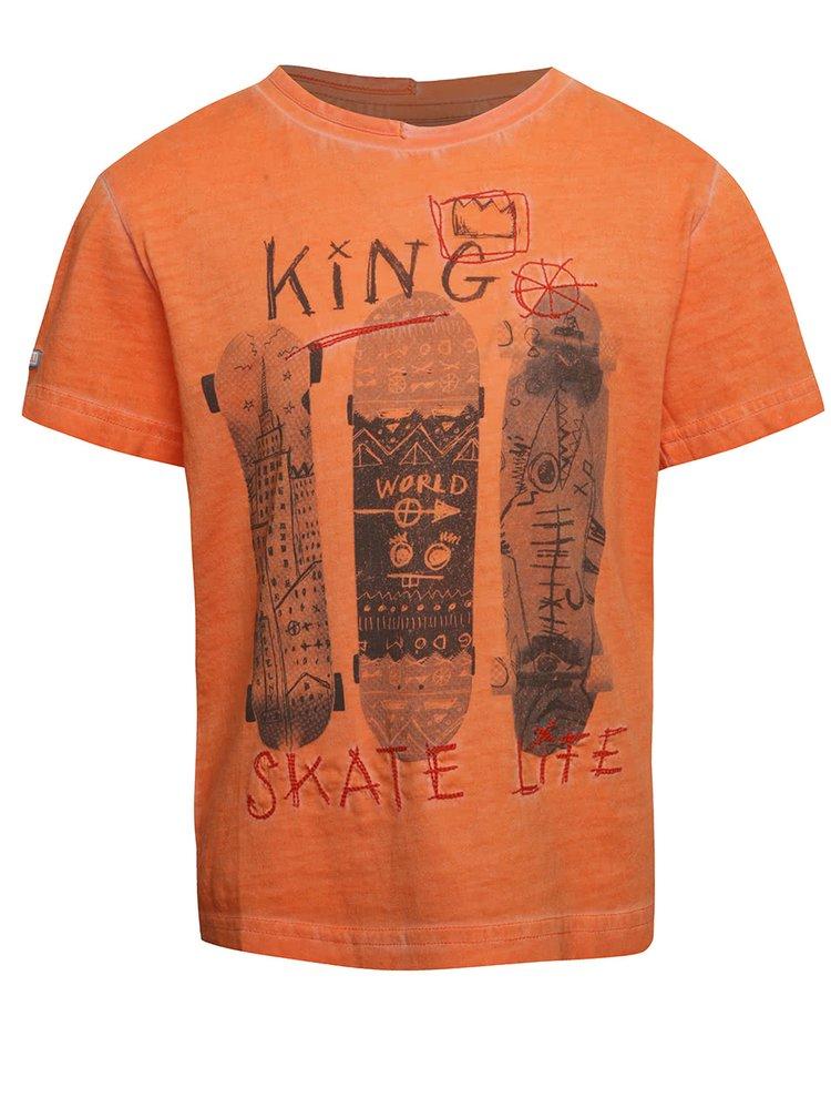 Oranžové klučičí tričko s potiskem skate Bóboli