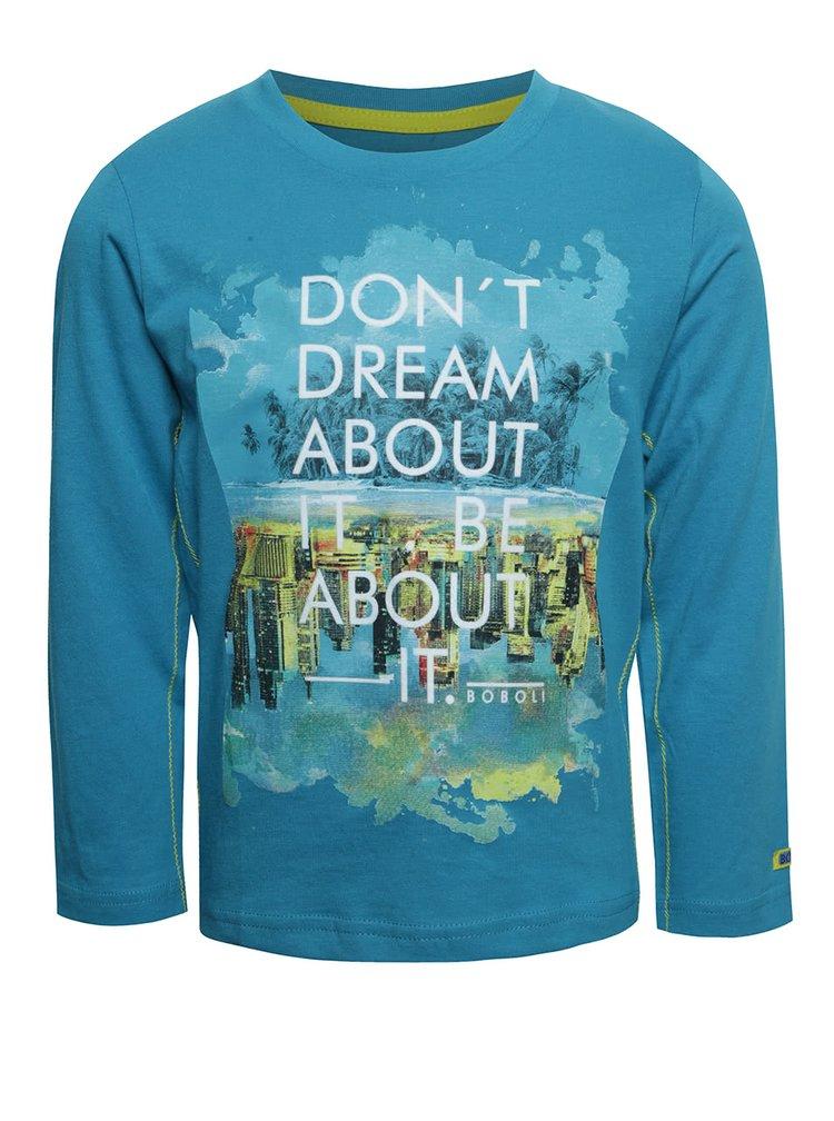 Bluză albastră Boboli din bumbac cu print