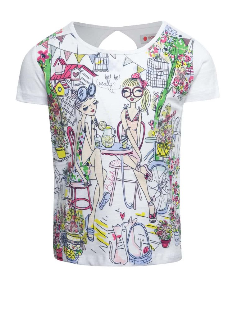 Tricou alb Boboli din bumbac cu print pentru fete