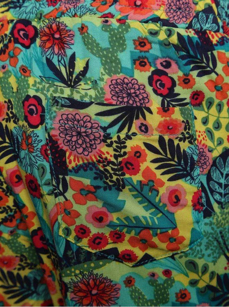Pantaloni galben & verde Boboli cu model floral