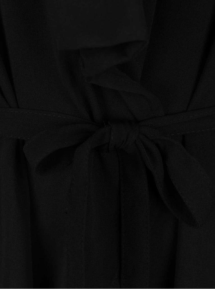 Blazer negru Jacqueline de Yong Shimmer cu cordon in talie