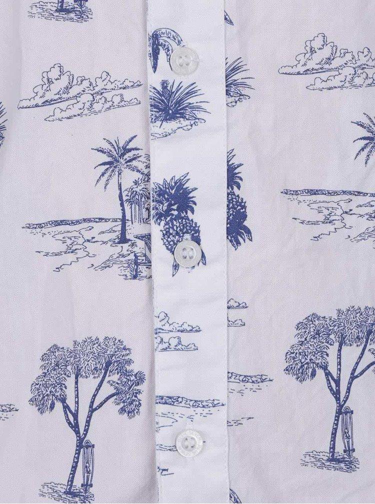 Bílá klučičí košile s havajským vzorem a krátkým rukávem Blue Seven