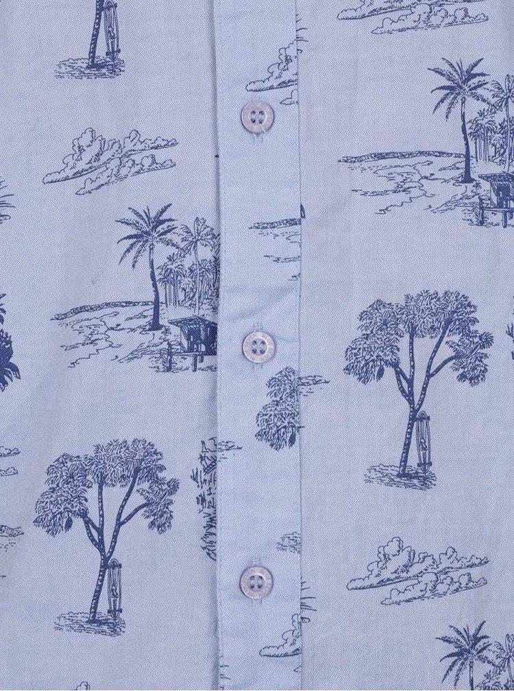 Cămașă albastră Blue Seven din bumbac cu mâneci scurte și imprimeu
