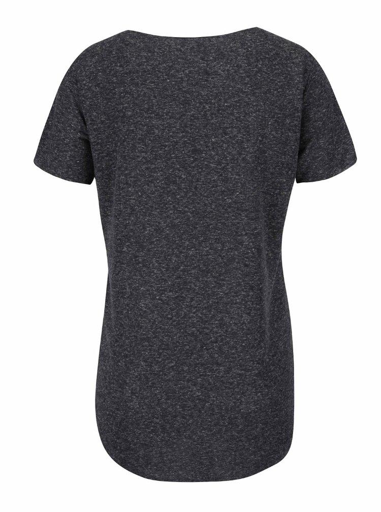 Tmavě šedé žíhané tričko s příměsí lnu Jacqueline de Yong Linette