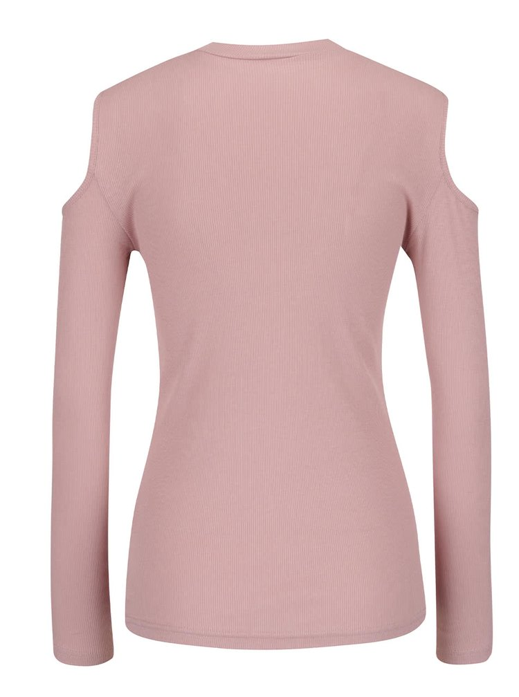 Starorůžové žebrované tričko s průstřihy na ramenou Jacqueline de Yong Sierra