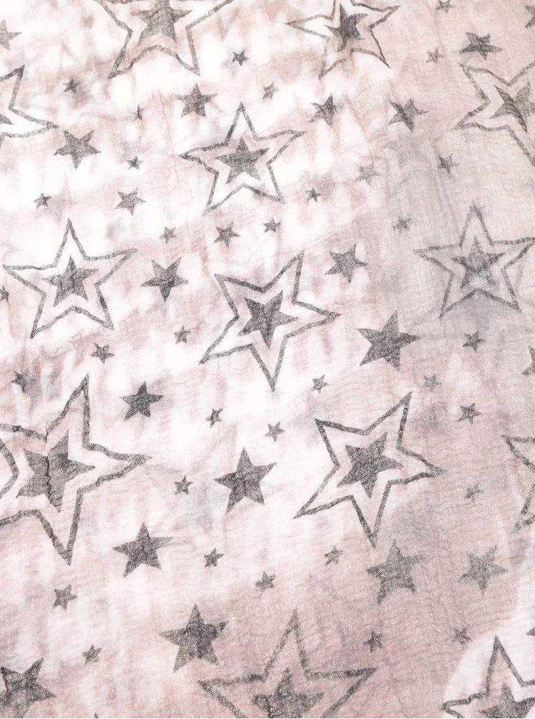 Šedo-růžový šátek s motivem hvězd Haily´s Estefania