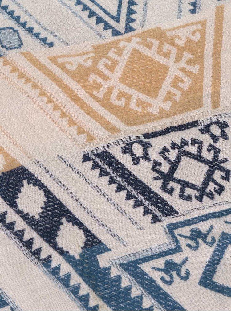 Krémovo-modrá vzorovaná šála Haily´s Ivy