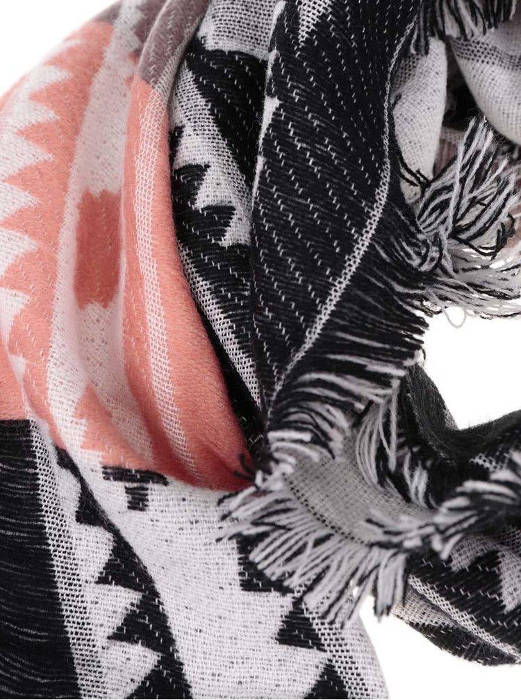Růžovo-černá vzorovaná šála Haily´s Ivy