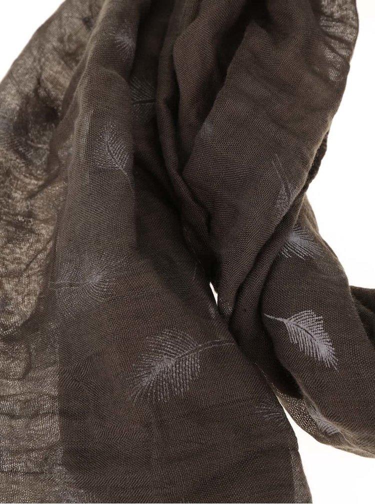 Khaki šátek s třásněmi a motivem pírek Haily´s Liliana