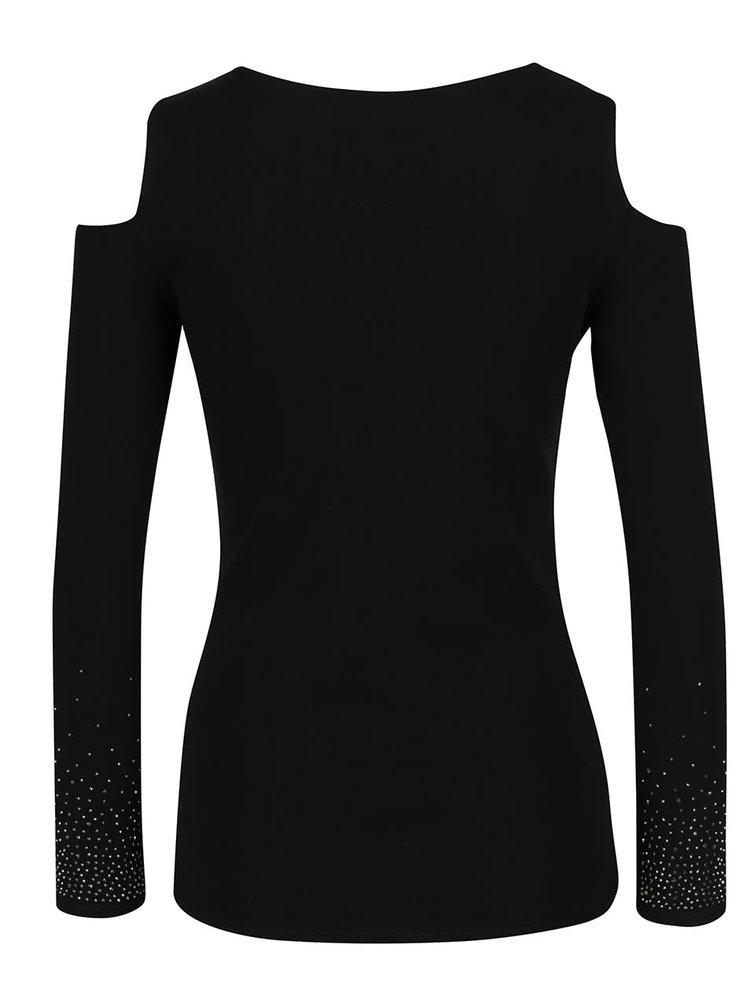 Černé tričko s kamínky a průstřihy na ramenou Haily´s Stone