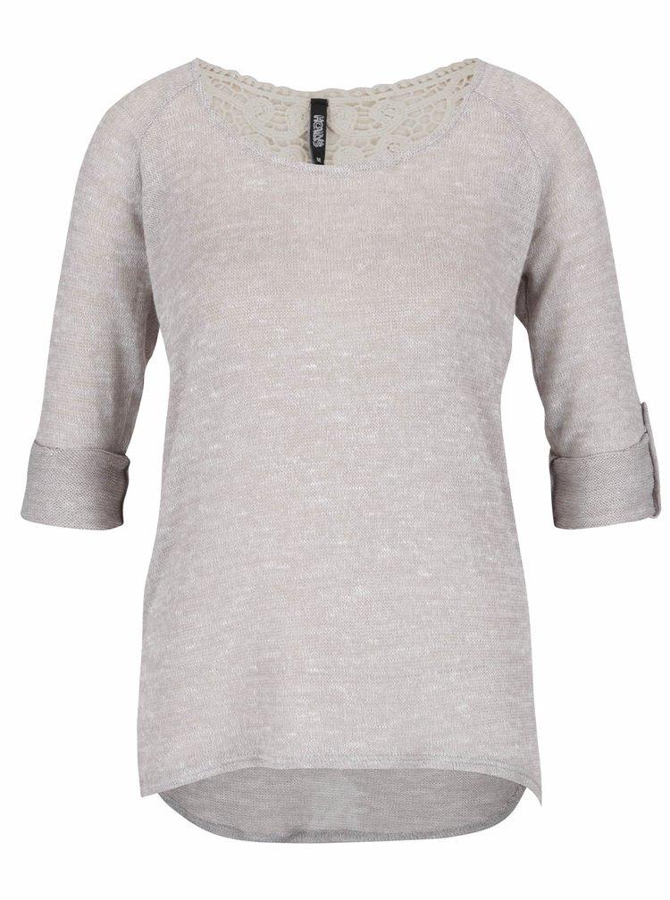 Šedý lehký svetr s krajkovými detaily na zádech Haily´s Amber