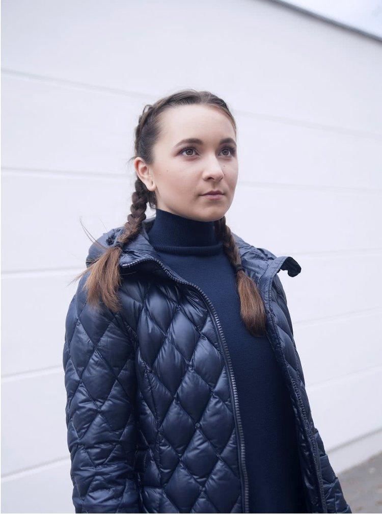 Tmavě modrá dámská prošívaná delší bunda Geox Down