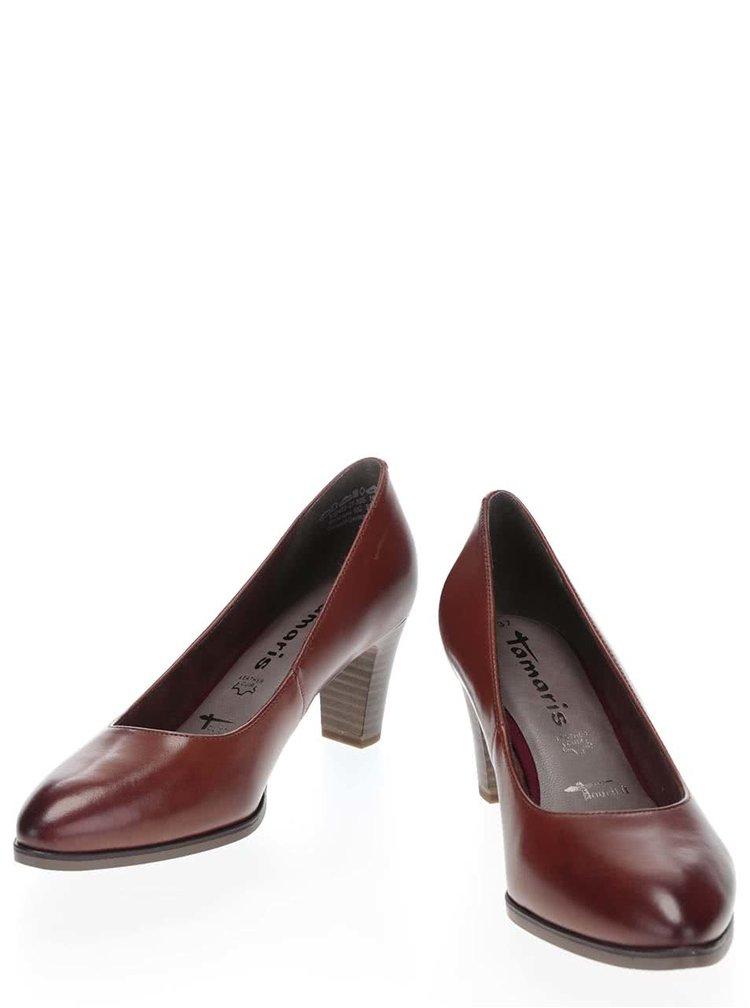Pantofi cu toc maro Tamaris din piele