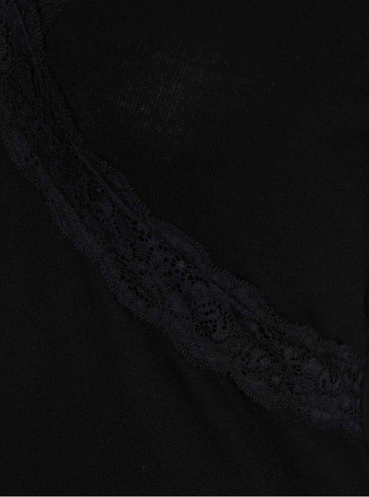 Černé tričko s krajkovými lemy Dorothy Perkins