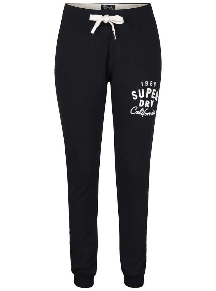 Pantaloni sport negri Superdry cu print pentru femei