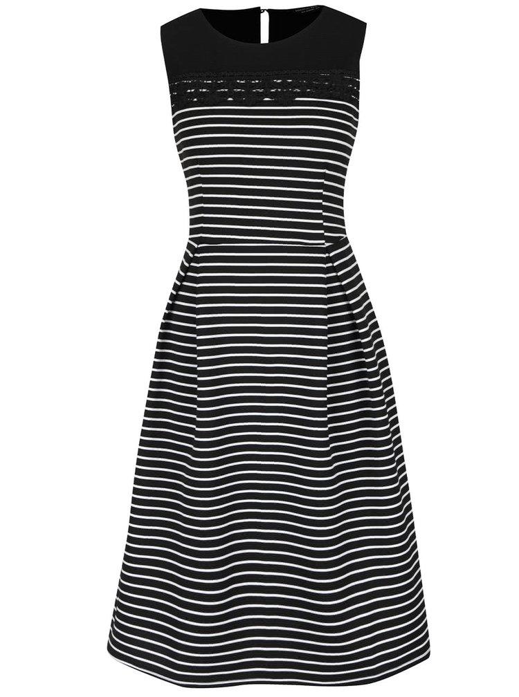 Bílo-černé pruhované šaty s krajkovým detailem Dorothy Perkins