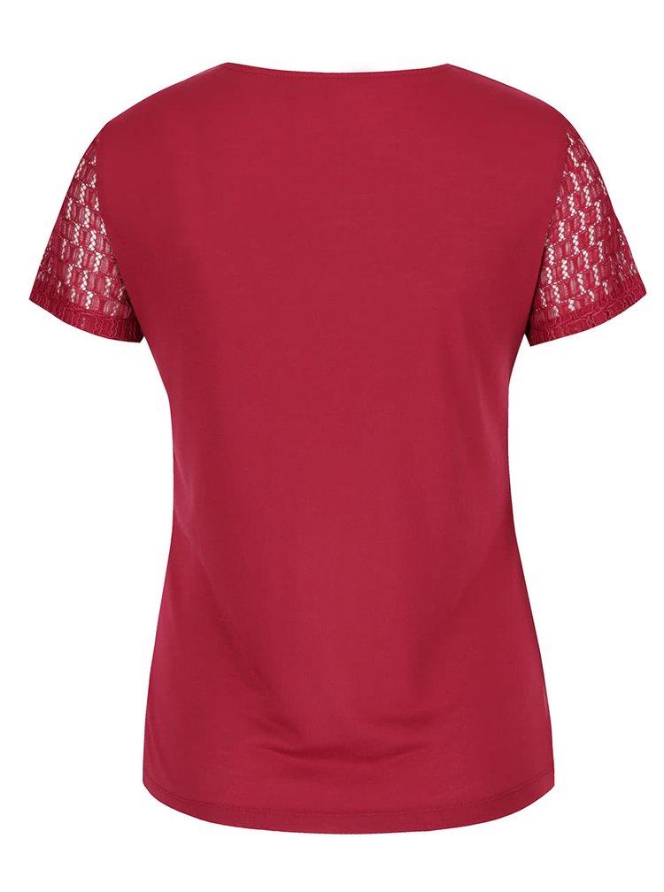 Tmavě růžové krajkové tričko s krátkým rukávem Dorothy Perkins