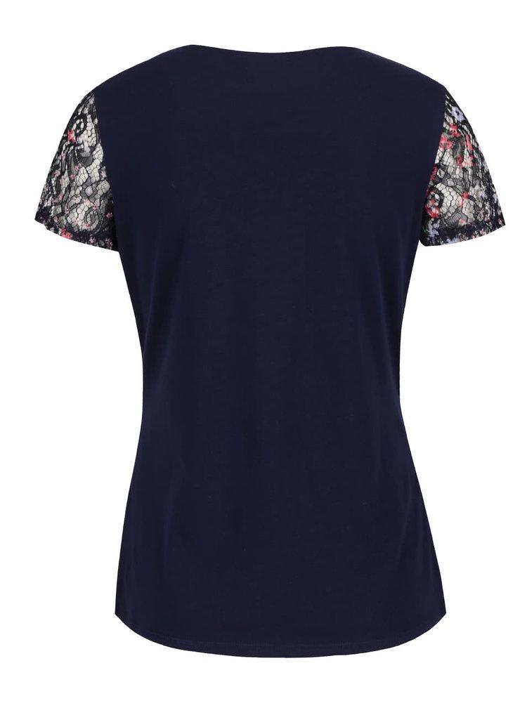 Tmavě modré krajkové tričko s květovaným motivem Dorothy Perkins