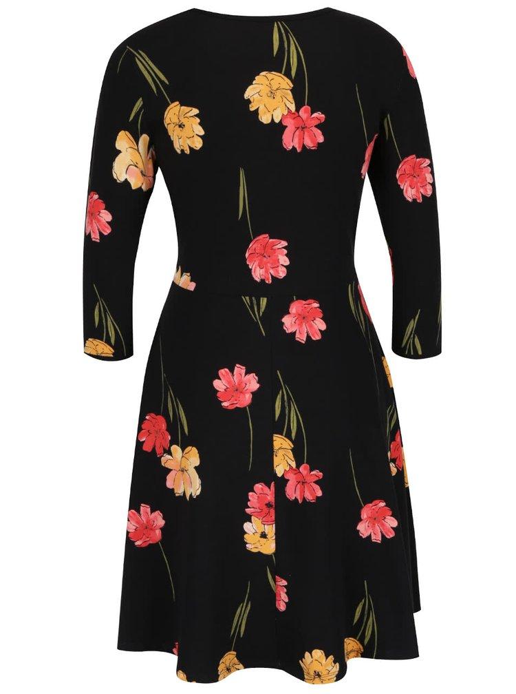 Černé květované šaty s 3/4 rukávem Dorothy Perkins