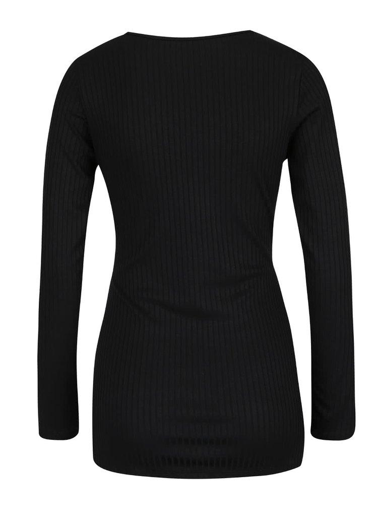 Černé žebrované těhotenské tričko s dlouhým rukávem Dorothy Perkins Maternity