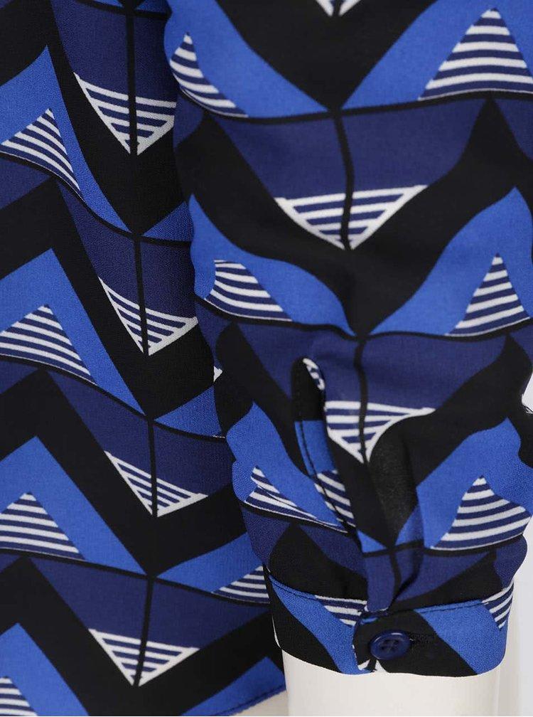 Černo-modrá vzorovaná oversize halenka Dorothy Perkins Petite