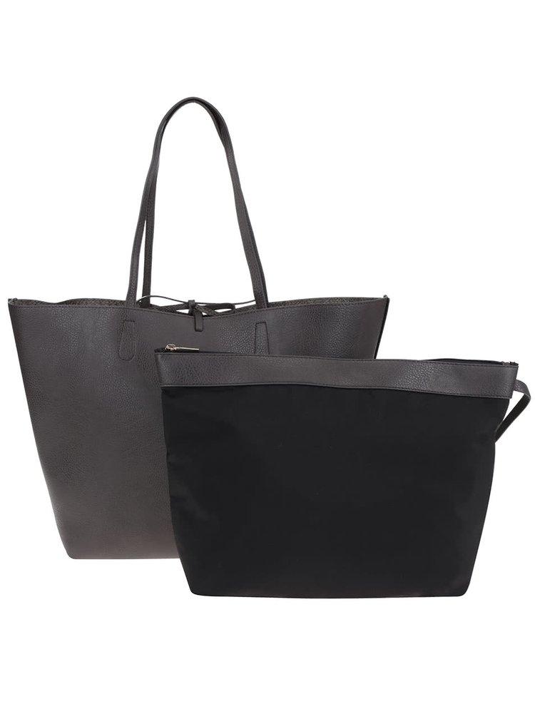 Tmavě hnědý oboustranný shopper 2v1 Pieces Betty