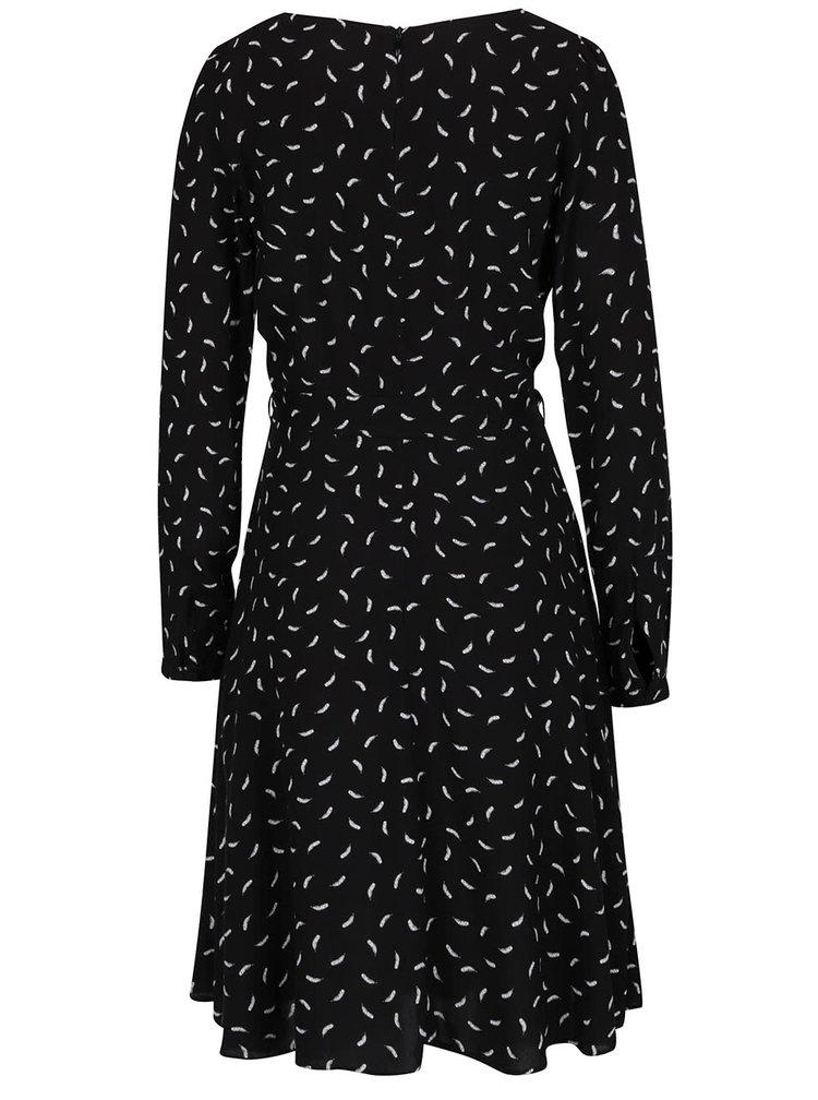 Černé šaty s potiskem peříček Billie & Blossom