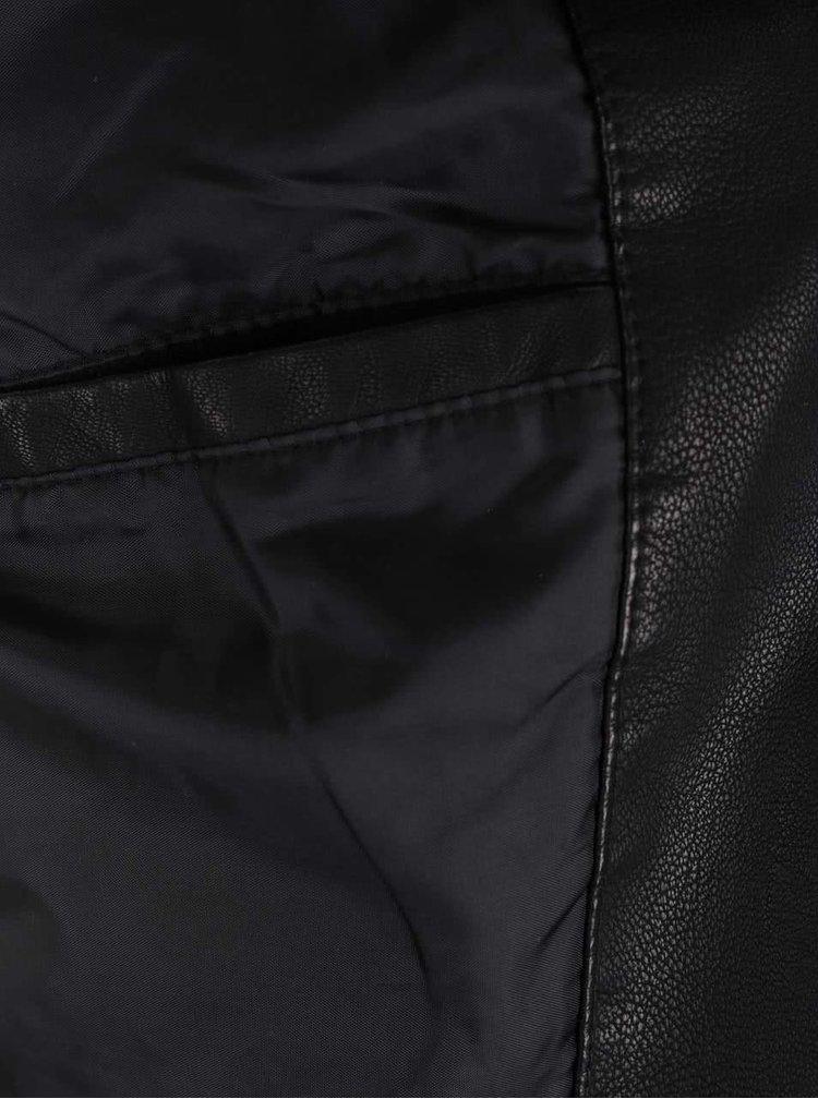 Jachetă neagră VILA Popular din piele ecologică