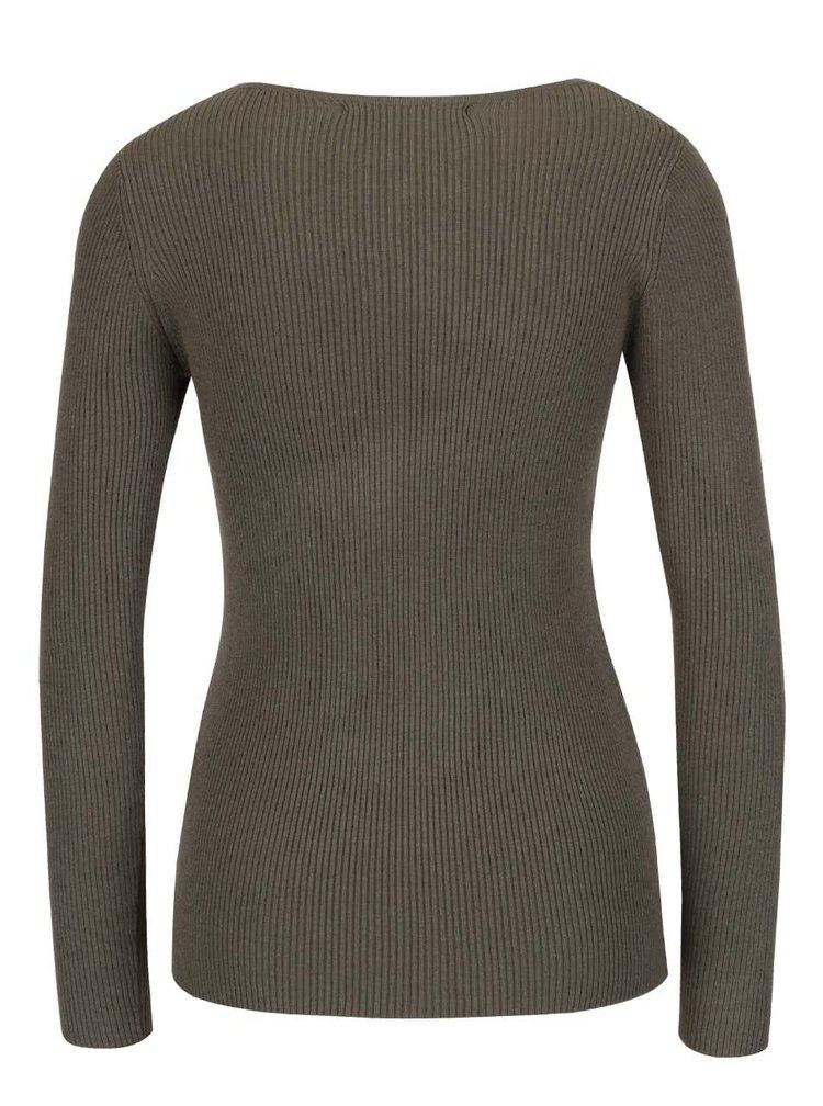 Khaki svetr se šněrováním v dekoltu ONLY Josephina