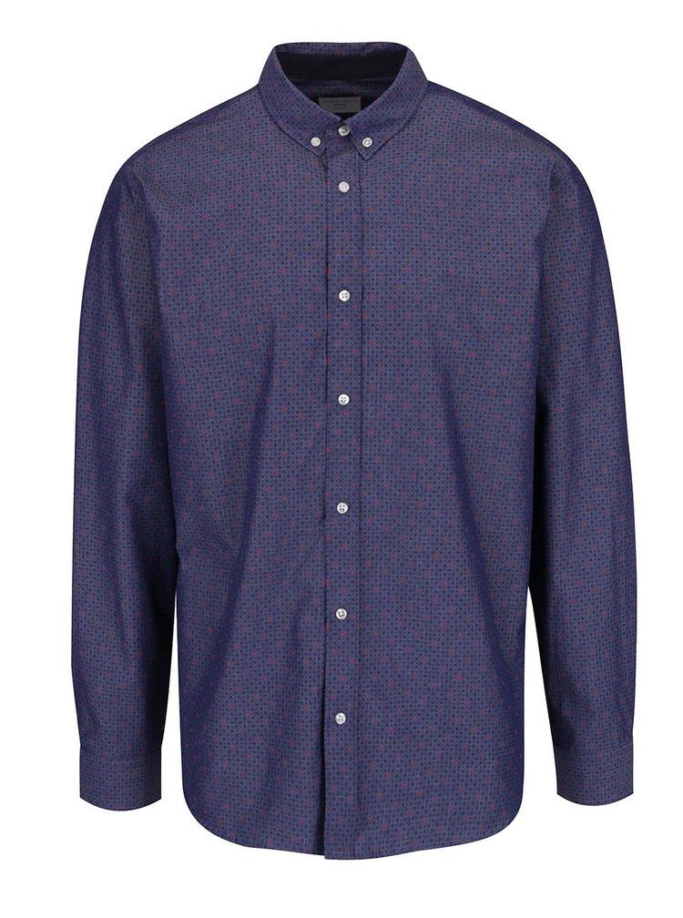 Camasa albastru inchis Selected Homme Nematteo Circe din bumbac cu model