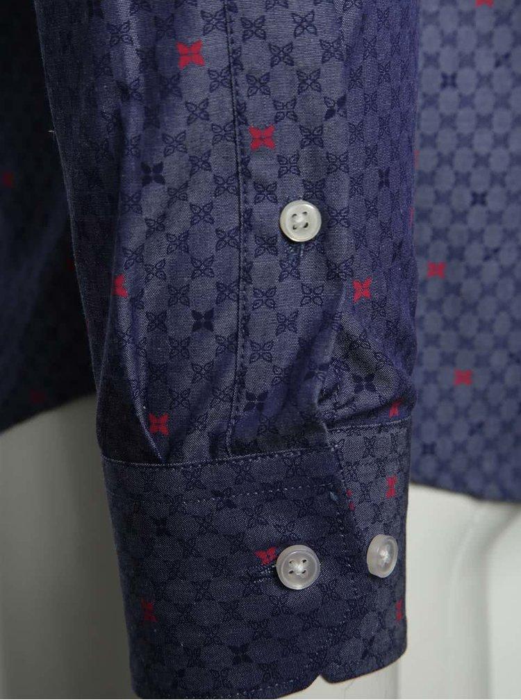 Camasa albastru inchis Selected Homme Nematteo Flower din bumbac cu model